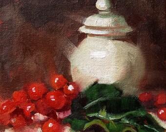 "Small Original Oil Painting, Berries, Pot, Jar, Still LIfe, 6 x 6"" Unframed, Home Decor, Wall Art"