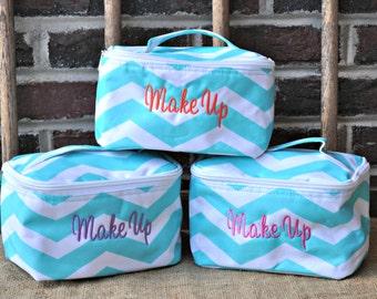 MINI Monogrammed Aqua Chevron Cosmetic Bag, Accessory Bag, Embroidered Bag, Bridesmaids, Zig Zag