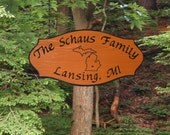 State Outline - Family Name Wooden Camp Sign - Personalized Carved Redwood JG Wood Signs Etsy Carved Camping Sign