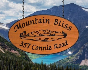 Custom RV Sign Oval Mountain Pine Graphic - Large - Redwood Camping Name Sign JG Wood Signs Etsy Campsite Name Sign MountainBliss