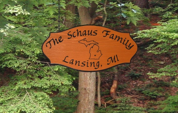 State Outline - Family Name Wooden Camp Sign with location - Personalized Carved Redwood
