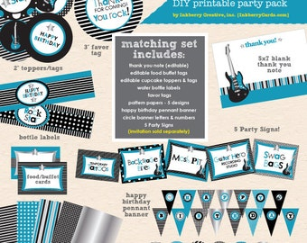 Little Rockstar Boy Birthday Party - DIY/Printable Complete Party Pack - INSTANT DOWNLOAD!