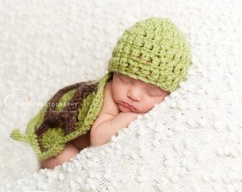 Newborn Turtle Crochet Cape Set