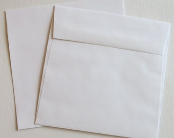 "PE78 Qty.50 Square Flap 6 1/2"" x 6 1/2"" 60lb White Paper Envelopes (16.51cm x 16.51cm)"