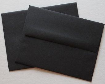 PPE47 Qty of 50 A2 70 lb.Square Flap Black Envelopes 4 3/8 x 5 3/4 (11.11cm x 14.61cm)
