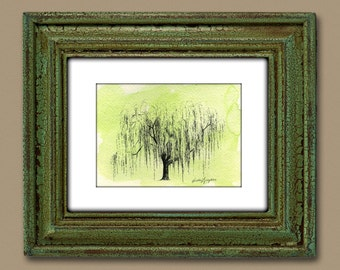 Weeping Willow Tree Drawing Print Sketch Aurora No 1 in Moss Green