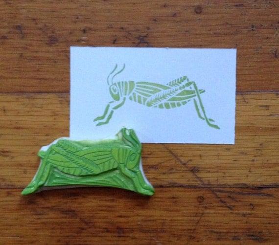 Hand carved grasshopper stamp by enchantingstamps on etsy