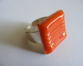 Orange adjustable mosaic tile ring