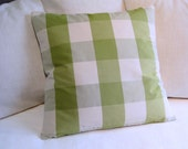 CASUAL CHIC 24x24 designer decorative Green Buffalo check large PILLOW cover