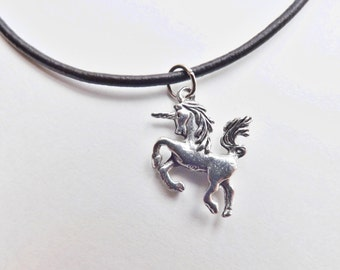 Unicorn Charm Necklace silver pewter aluminum chain or pink black leather