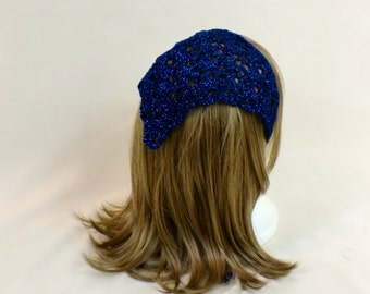 Lace Hair Kerchief, Blue Triangle Scarf Bandana, Sparkle Crochet Rockabilly Hair Tie, Headband