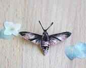 "Small Sketchy Moth Brooch ""Delbert"" Pin Hand Painted OOAK Copper Unisex"