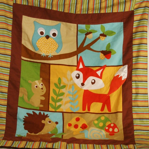 Baby Blanket Woodland Animals Brown Minky Fabric 35 X 40