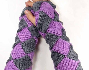 Knit Hand Warmers Warm Purple Gloves Grey Fashion Accessories Winter Accessories Entrelac Gloves Gray Long Gloves Fashion Gloves Handwarmers