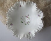 Vintage Fenton Violets in the Snow Milk Glass Silver Crest Footed Bowl