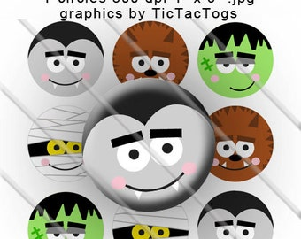 Cute Halloween Bottle Cap Digital Art Collage Set 1 Inch Circle Boy 4x6 - Instant Download - BC181