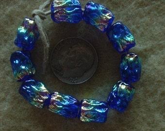 10 Bright Rainbowand Cobalt  Dichroic Mini ripple Lampwork Beads  by Dee Howl Beads