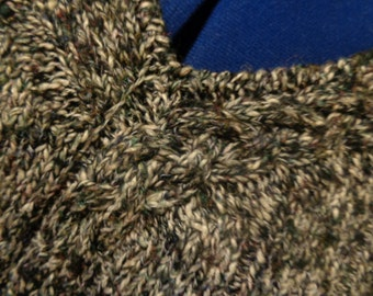 Hand knit black/white v-neck women's sweater