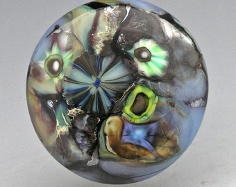 Oceanic... glass CABOCHON handmade organic lampwork jewelry designer cabs SRA by Mikelene Reusse