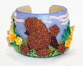 POODLE in PUBLIC GARDEN Beaded Cuff Bracelet Bead Embroidery Art Dog Jewelry - Gift for Her / Ready to Ship/ Free Usa Shipping