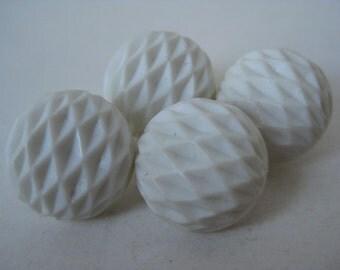 White Texture Buttons Vintage Four Plastic