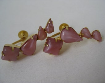 Pink Gold Glass Earrings Screw Vintage