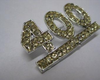 400 Rhinestone Silver Brooch Vintage Pin