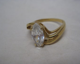 Clear Crystal Marquise Stone Gold Ring Vintage Size 9 1/4