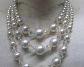 Pearl Aurora Three Strand Necklace Vintage Japan