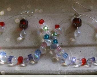 GYPSY Large Fringe Crystal Hoop Earrings. Mardi Gras Earrings, Gypsy Earrings