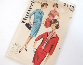 Vintage 1960's Jacket, Blouse and Skirt Butterick 2178 Sewing Pattern, Size 12, Bust 32 Inches