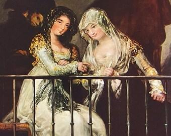 Majas on a Balcony, by Goya - an Original 1954 Frameable Art Print