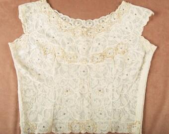 Stunning Rhinestone Embellished Cream Lace Blouse shg