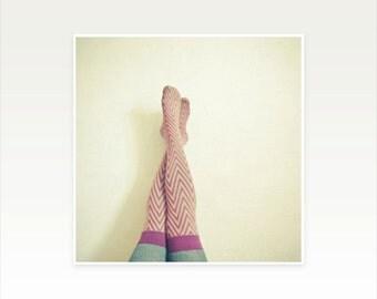 Figure Photography, Female Portrait, Stockings - Zig Zag
