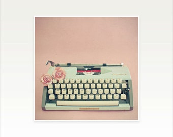 Typewriter Art, Still Life Photograph, Literature Art, Gift for Writer, Pastel Pink, Pink Roses, Preppy, Floral - Love Letter