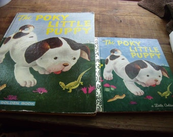 "2 vinTage ""POKY LITTLE PUPPY"" BooKs-Little Golden Book and BiG Golden Book-Copyright 1942"