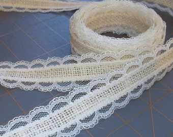 Skinny Ivory Burlap and Lace Ribbon - 1 inch x 3 yards