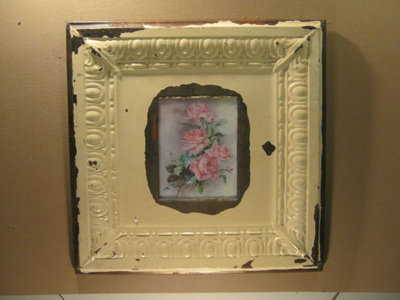 TIN CEILING Picture Frame 8x10 Shabby Recycled chic S-356-12