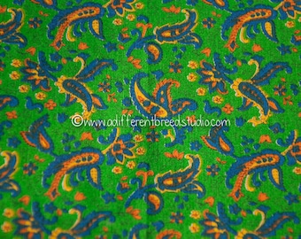 Mod Paisley on Green - New Old Stock Vintage Fabric Mod Great Bold Colors Orange Yellow Blue
