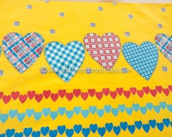 Plaid and Gingham Hearts - Vintage Fabric Border Print 36 inches wide Juvenile Dots