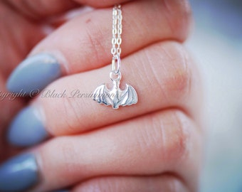 Itsy Bitsy Batty Necklace - Tiny Sterling Silver Bat Auspicious Feng Shui Good Fortune Charm - Free Domestic Shipping