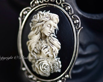 Aphrodite Gothic Necklace - Beautiful Goddess of Love and Fertility Cameo - 2 Setting Colors - Insurance Included