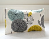 decorative pillow cover teal grey mustard, 12 X 20 inch lumbar dandelion sofa cushion cover