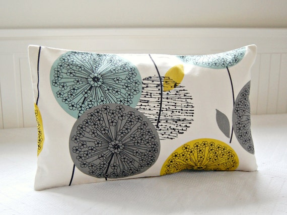 Decorative Throw Pillow Cover Blue Teal Grey Mustard Yellow