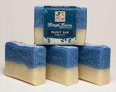 Manly Bar Soap Natural/ Handmade/ Artisan Soap.Generous 4.5 oz  Vegan Bar. Made with Rainwater & Pure Essential Oils.