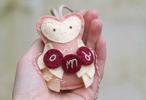 Baby Ornament Personalized. Felt Owl with Monogram. Baby Girl 1st Xmas. Pink Felt Christmas Ornament.