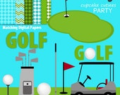Golf Days Digital Clipart Elements and Digital Paper Set Commercial use Instant Download