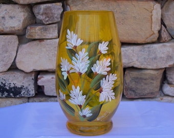 Hand Painted Yellow Glass Vase with White Stock Flowers