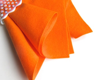 Orange Felt, 100% Merino Wool, Choose Size, Large Felt Sheet, Felt Square, Wollfilz, European Wool Felt