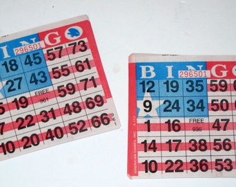 50 Red White and Blue Paper Bingo Cards for Paper Crafting, Scrapbooking, Collage, etc.